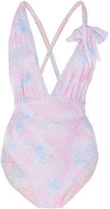 LoveShackFancy Millicent Ruched Tie-Dye Swimsuit