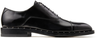 Jimmy Choo FALCON Black Brush-Off Leather Oxford Shoes with Star Studs