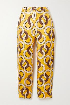 F.R.S For Restless Sleepers Tartaro Printed Silk-twill Straight-leg Pants - Saffron