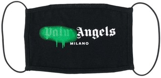 Palm Angels Black And Green Sprayed Milano Logo Face Mask