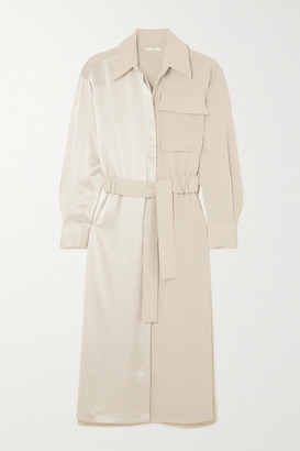 Co Belted Satin And Crepe Midi Dress - Off-white
