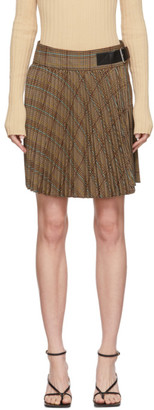 Helmut Lang Beige and Brown Plaid Miniskirt