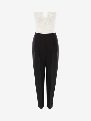 Alexander McQueen Bi-Color Light Wool Silk Jumpsuit