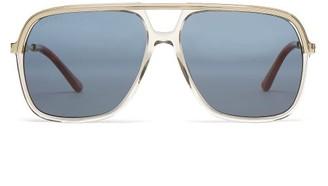 Gucci Rectangular Acetate And Metal Sunglasses - Mens - Brown