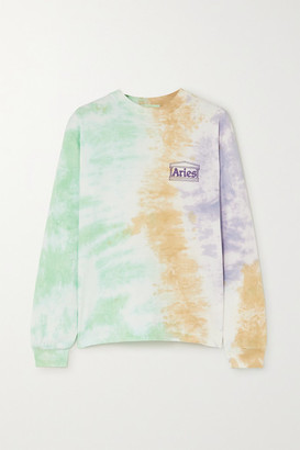 Aries Printed Tie-dyed Cotton-jersey Top - Green