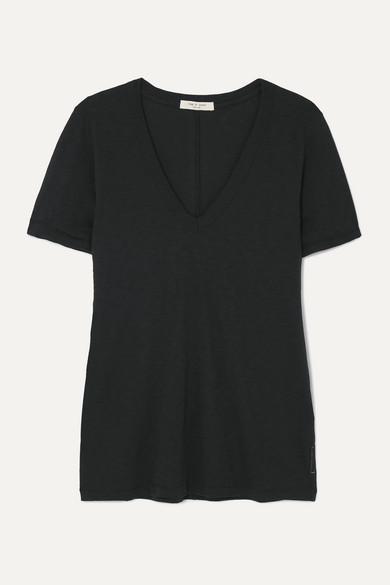 Rag & Bone The Vee Slub Pima Cotton-jersey T-shirt - Black