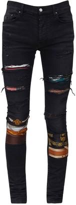 Amiri 15cm Patchwork Cotton Denim Jeans
