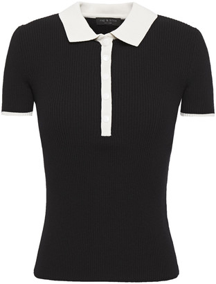 Rag & Bone Libby Ribbed-knit Polo Shirt
