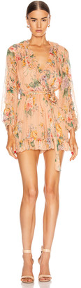 Zimmermann Zinnia Plunge Ruffle Playsuit in Coral Floral   FWRD