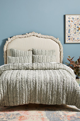 Anthropologie Ruched Voile Vienna Quilt By in Grey Size Q top/bed
