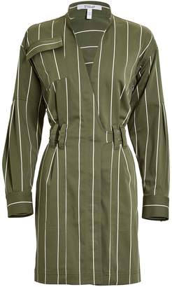 Derek Lam 10 Crosby Striped Sateen Utility Wrap Dress