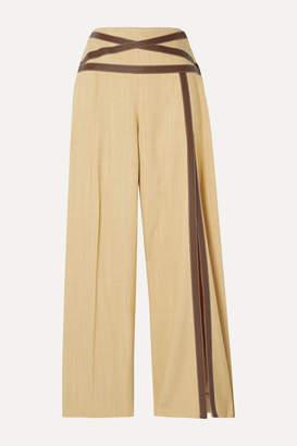 Rosie Assoulin Criss Cross Applesauce Faux Leather-trimmed Canvas Wide-leg Pants - Beige