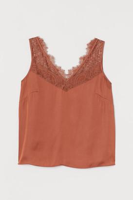 H&M H&M+ Lace-trimmed Top - Orange