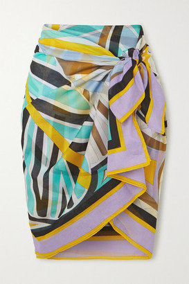 Emilio Pucci Printed Cotton-voile Pareo - Yellow