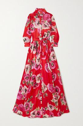 Carolina Herrera Belted Floral-print Silk-organza Gown - Red