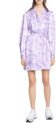 Ganni Floral Satin Long Sleeve Wrap Minidress