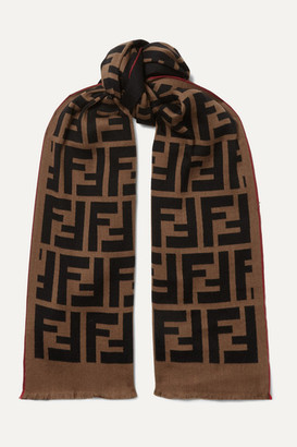 Fendi Intarsia Wool And Silk-blend Scarf - Brown