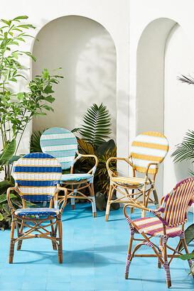 Anthropologie Belmar Striped Indoor/Outdoor Bistro Chair By in Blue Size ALL