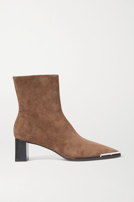 Alexander Wang Mascha Embellished Suede Ankle Boots - Brown