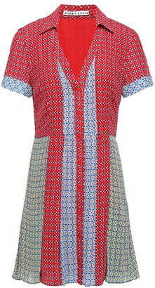 Alice + Olivia Abelia Paneled Floral-print Crepe De Chine Mini Shirt Dress
