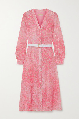 MICHAEL Michael Kors Belted Paisley-print Fil Coupe Gauze Midi Dress - Peach