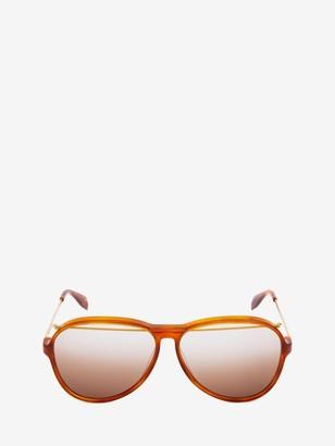 Alexander McQueen Acetate Aviator Piercing Sunglasses
