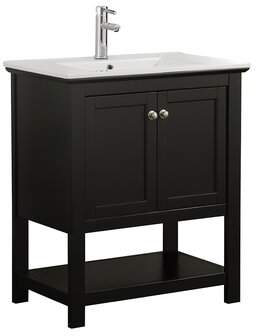 "Fresca Cambria Manchester 30"" Single Bathroom Vanity Set Fresca Base Finish: Black"