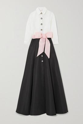 Carolina Herrera Belted Two-tone Silk-faille Gown - Black