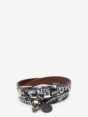 Alexander McQueen McQueen Graffiti Double-Wrap Bracelet