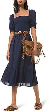 MICHAEL Michael Kors Smocked Cotton Lawn Puff Sleeve Dress