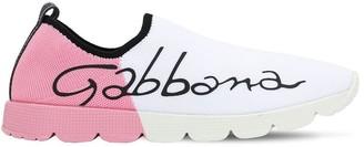 Dolce & Gabbana LOGO PRINTED TWO TONE KNIT SNEAKERS