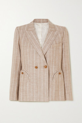 BLAZÉ MILANO Wind Hunter Charmer Double-breasted Pinstriped Grain De Poudre Blazer - Sand