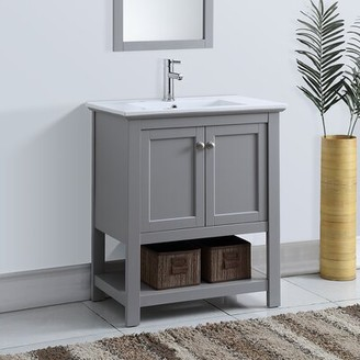 "Cambria Manchester 30"" Single Bathroom Vanity Set Fresca Base Finish: Light Gray"