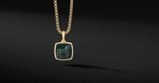 David Yurman Petrvs Horse Amulet In 18K Yellow Gold With Bloodstone
