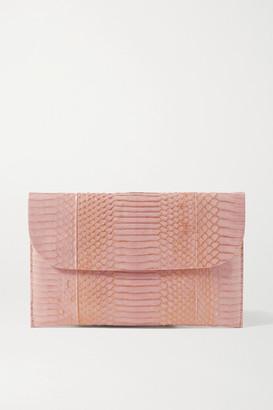 Nancy Gonzalez Envelope Metallic Elaphe Clutch - Blush