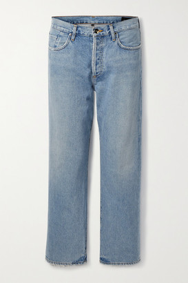 Gold Sign The Relaxed Straight Distressed High-rise Jeans - Light blue