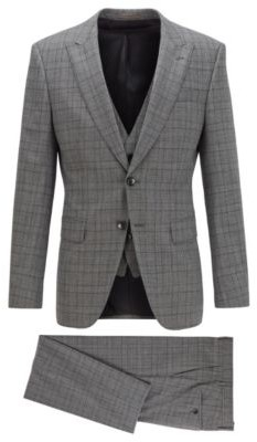 HUGO BOSS - Slim Fit Three Piece Suit In Checked Stretch Fabric - Open Grey