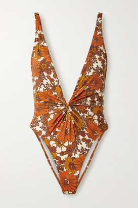 Dodo Bar Or Rylee Twist-front Floral-print Swimsuit - Brown
