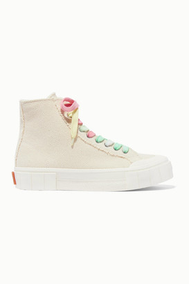 Good News Net Sustain Organic Cotton-canvas High-top Sneakers - Off-white