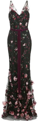 Marchesa 3D floral embroidered flair gown