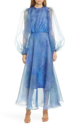 Beaufille Watercolor Print Long Sleeve Organza Gown