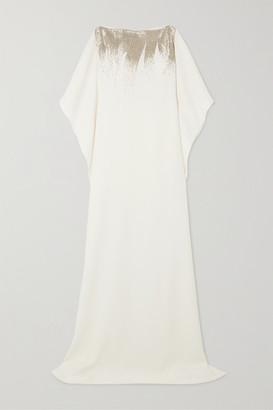 Oscar de la Renta Bead-embellished Silk-blend Gown - Ivory