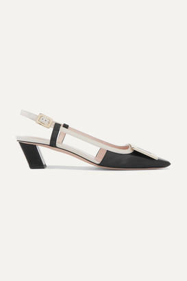 Roger Vivier Belle Vivier Two-tone Leather Slingback Pumps - Black