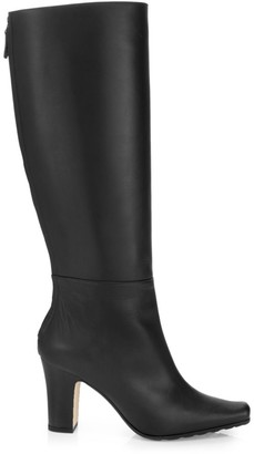 Manolo Blahnik Cantuna Square-Toe Tall Leather Boots