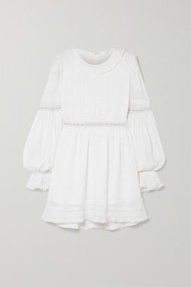 LoveShackFancy Jullian Broderie Anglaise Cotton Mini Dress - White