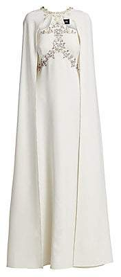 Marchesa Women's Embellished A-Line Cape Gown
