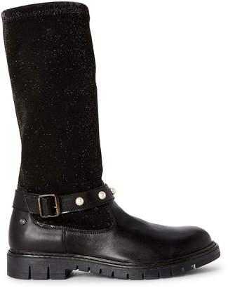 Naturino Toddler/Kids Girls) Black Shimmer Stretch Knee-High Boots