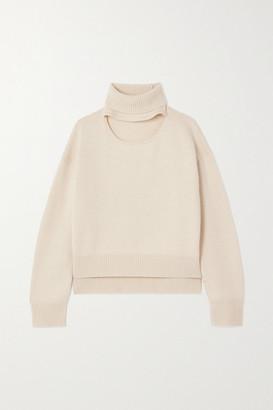 REJINA PYO Peyton Cutout Cashmere And Wool-blend Turtleneck Sweater - Ivory