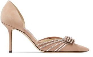 Jimmy Choo KAITENCE 85 Ballet-Pink and Silver Suede Pumps with Crystal-Embellished Bow