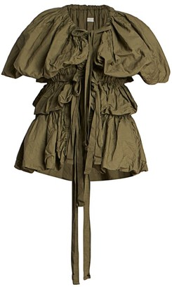 Dries Van Noten Kaki Ruffle Tiered Bow Blouse